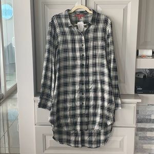 Saks Fifth Ave High Low Flannel Shirt Dress